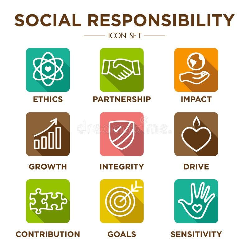 Ensemble d'icône d'ensemble de responsabilité sociale illustration de vecteur