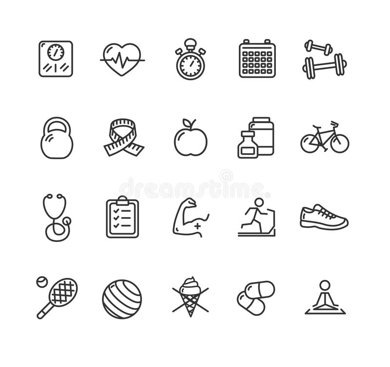 Ensemble d'icône d'ensemble de santé de Fytness Vecteur illustration de vecteur