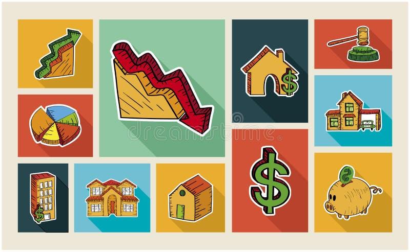 Ensemble d'icône d'illustration de style de croquis d'immobiliers illustration stock