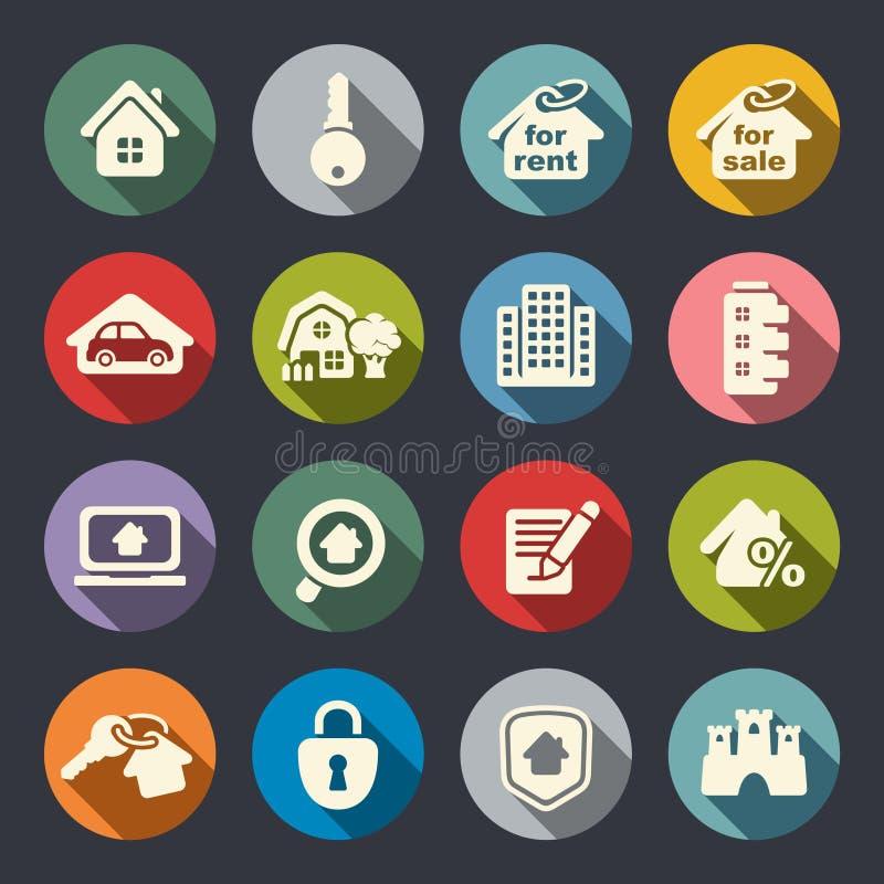 Ensemble d'icône d'immobiliers. Illustration de vecteur illustration stock