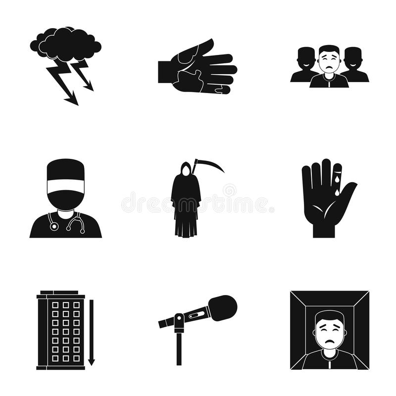 Ensemble d'icône d'inquiétude et d'effort, style simple illustration de vecteur