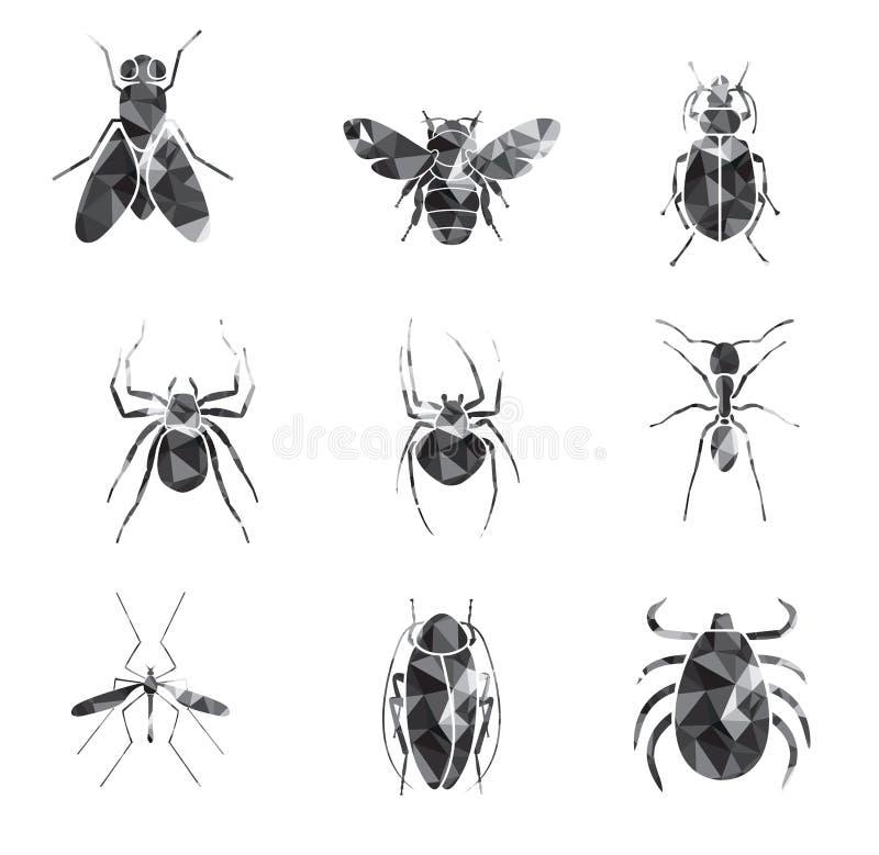 Ensemble d'icône d'insectes photos libres de droits