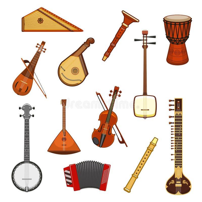 Ensemble d'icône d'instrument de musique classique et ethnique illustration libre de droits