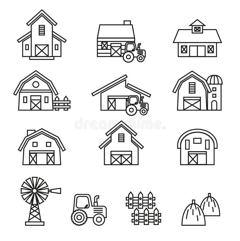 Ensemble d'icône de bâtiment de grange et de ferme illustration stock
