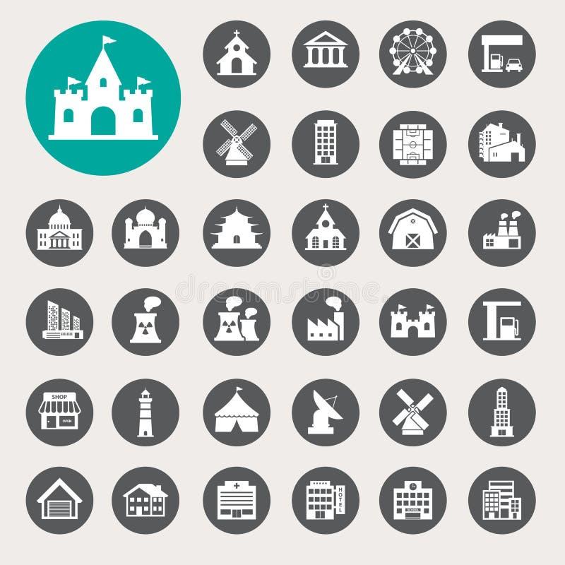 Ensemble d'icône de bâtiments illustration stock