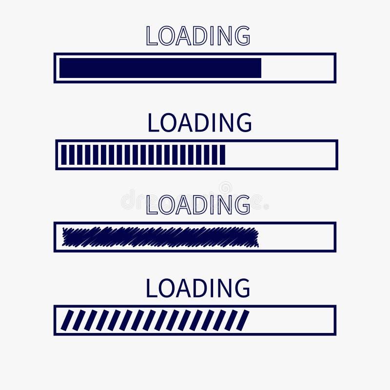 Ensemble d'icône de barre d'état d'avancement de chargement Minuterie de téléchargement du web design APP Fond blanc Élément à la illustration libre de droits