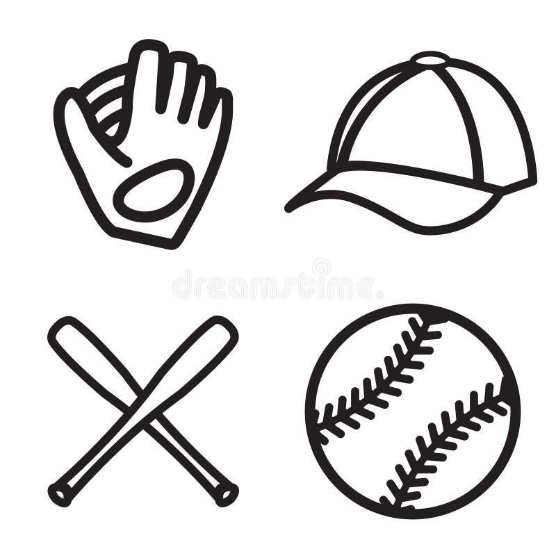 Ensemble d'icône de base-ball Vecteur ENV 10 illustration stock