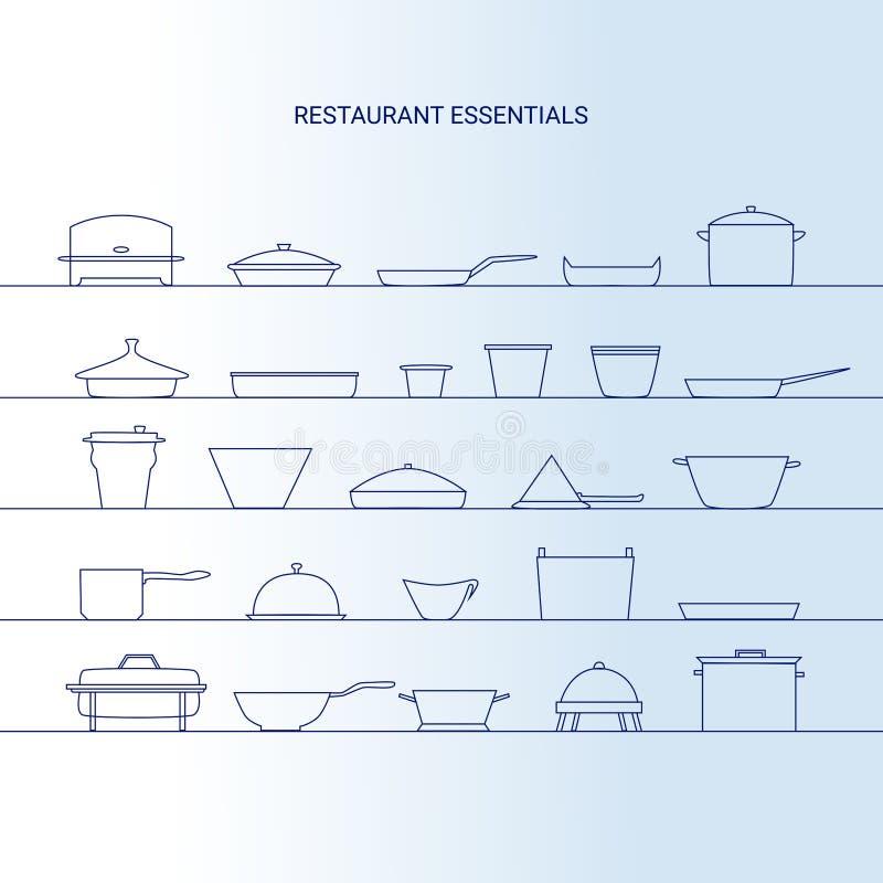 Ensemble d'icône de bases de restaurant illustration libre de droits