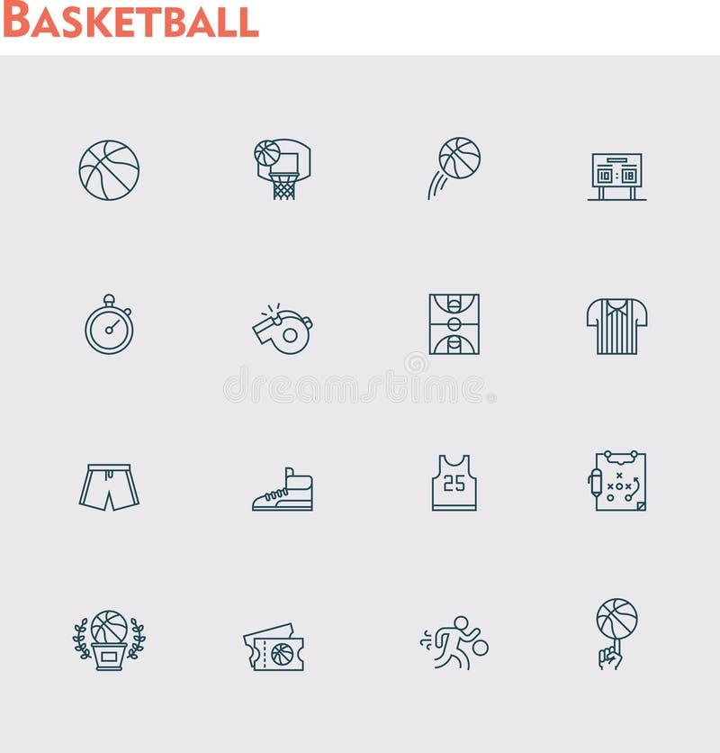 Ensemble d'icône de basket-ball de vecteur illustration stock