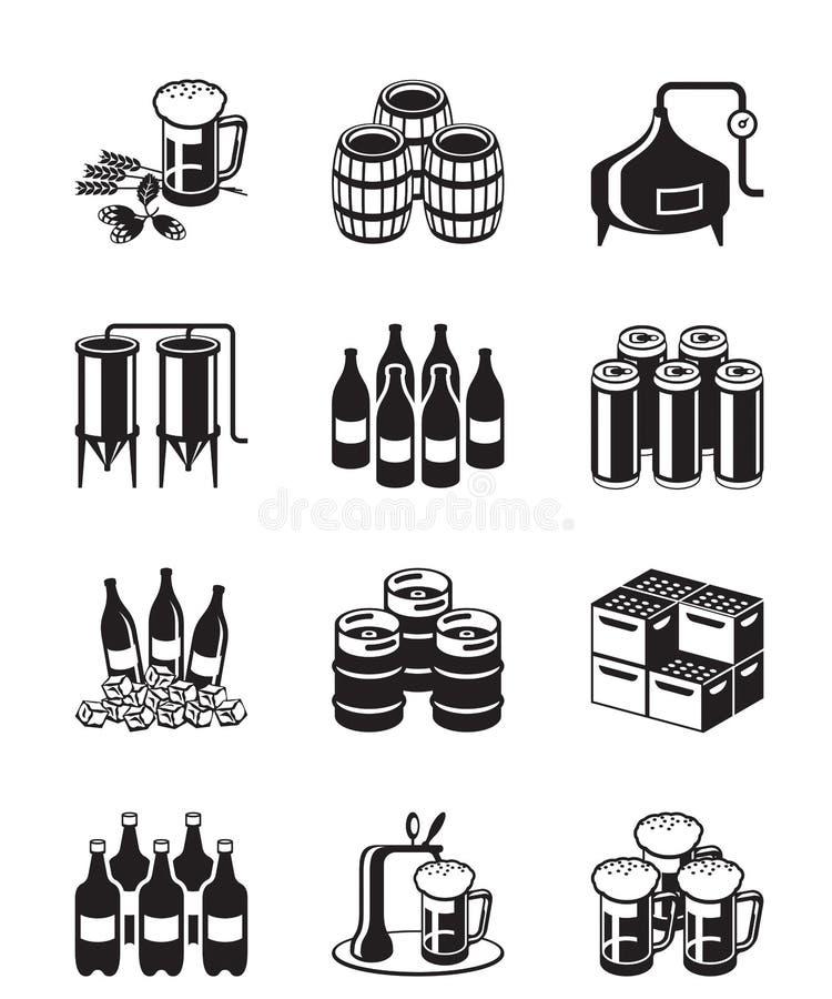 Ensemble d'icône de bière et de brasserie illustration de vecteur