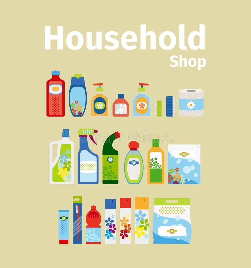 Ensemble d'icône de boutique de biens d'équipement ménager illustration stock