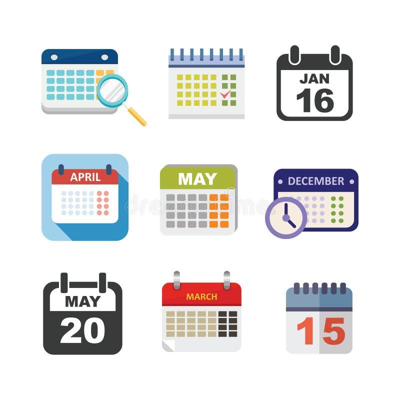 Ensemble d'icône de calendrier de vecteur illustration stock