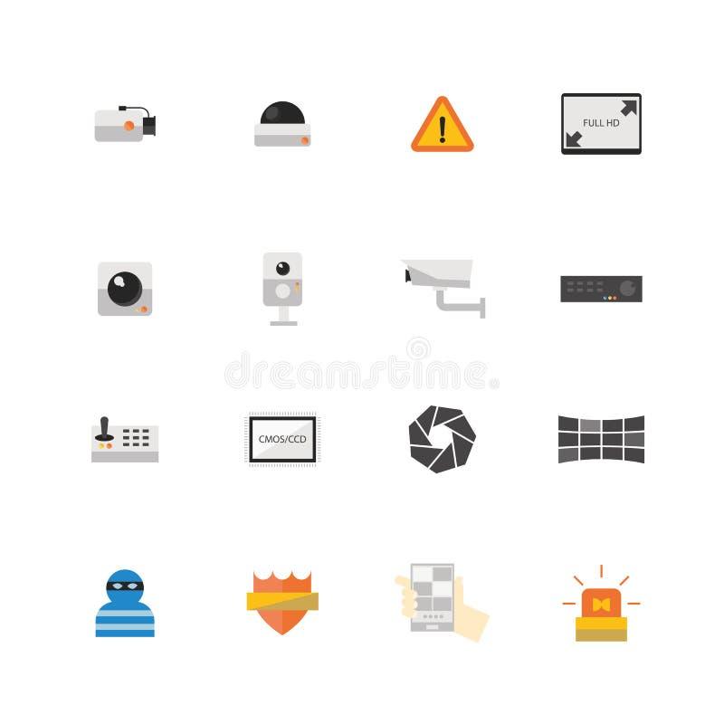 Ensemble d'icône de caméra de sécurité ou de télévision en circuit fermé illustration de vecteur