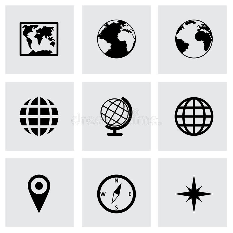 Ensemble d'icône de carte du monde de vecteur photos stock