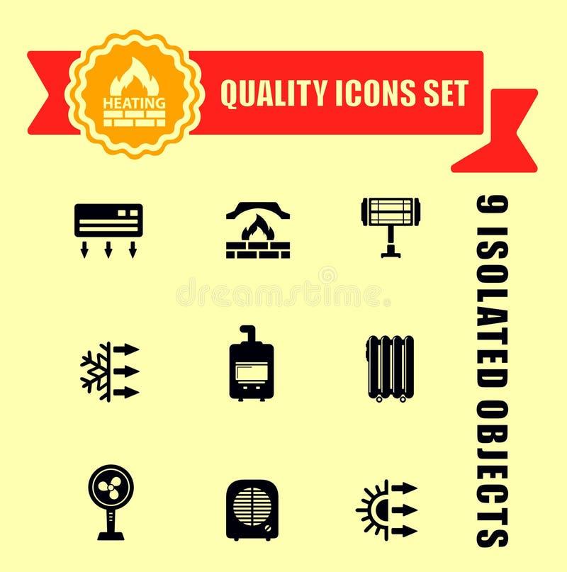Ensemble d'icône de chauffage de qualité illustration stock
