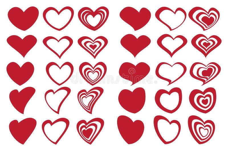 Ensemble d'icône de conception d'Art Inspired Fancy Heart Shape de Latte illustration libre de droits