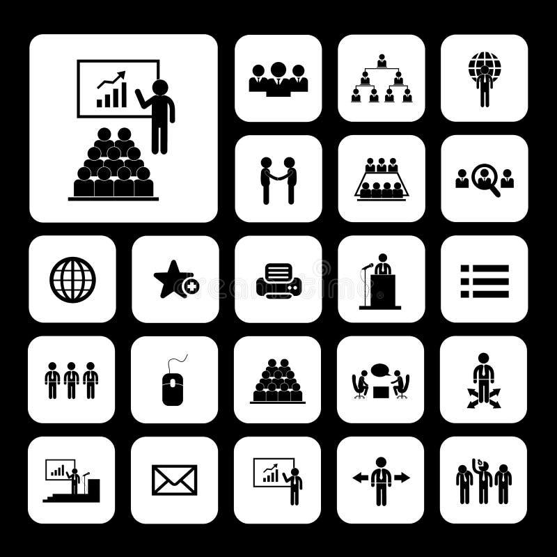 Ensemble d'icône de conférence illustration de vecteur
