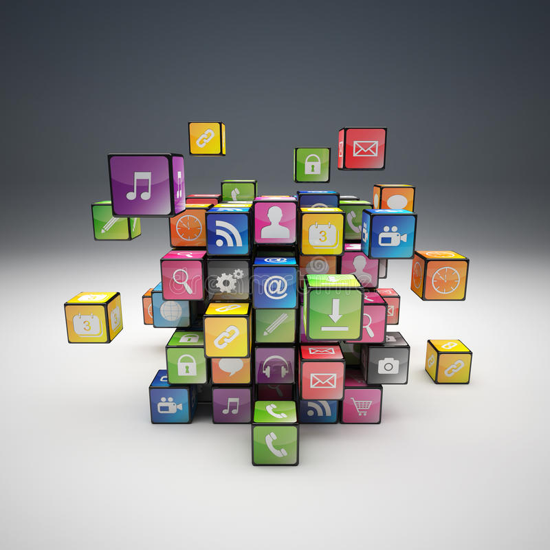 Ensemble d'icône de cube illustration de vecteur