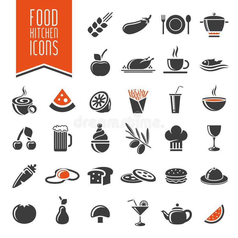 Ensemble d'icône de cuisine et de nourriture illustration stock
