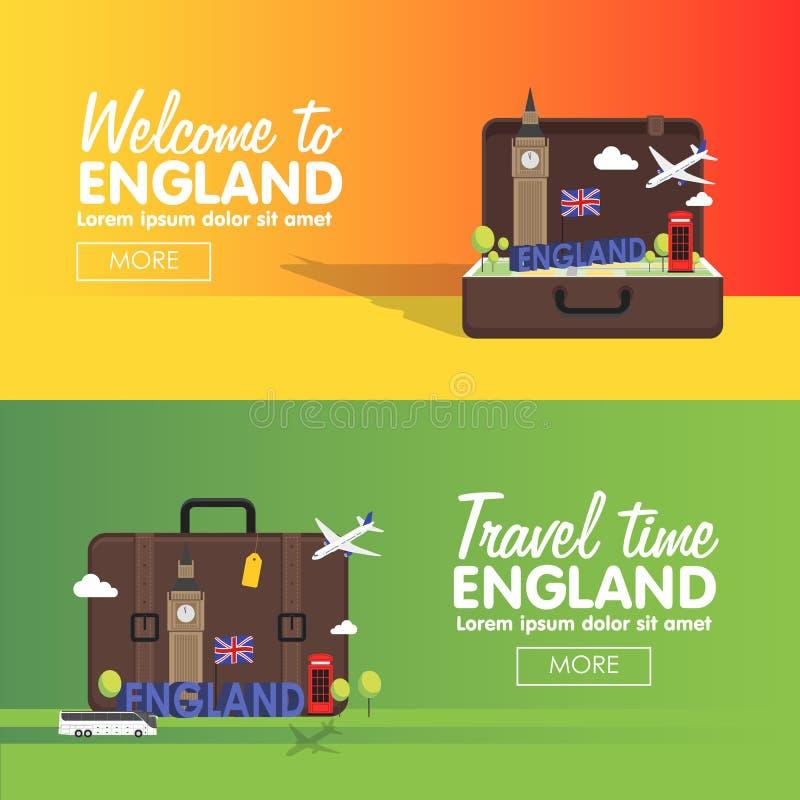 Ensemble d'icône de destinations de voyage de Londres, Angleterre, éléments graphiques d'infos pour voyager en Angleterre illustration libre de droits
