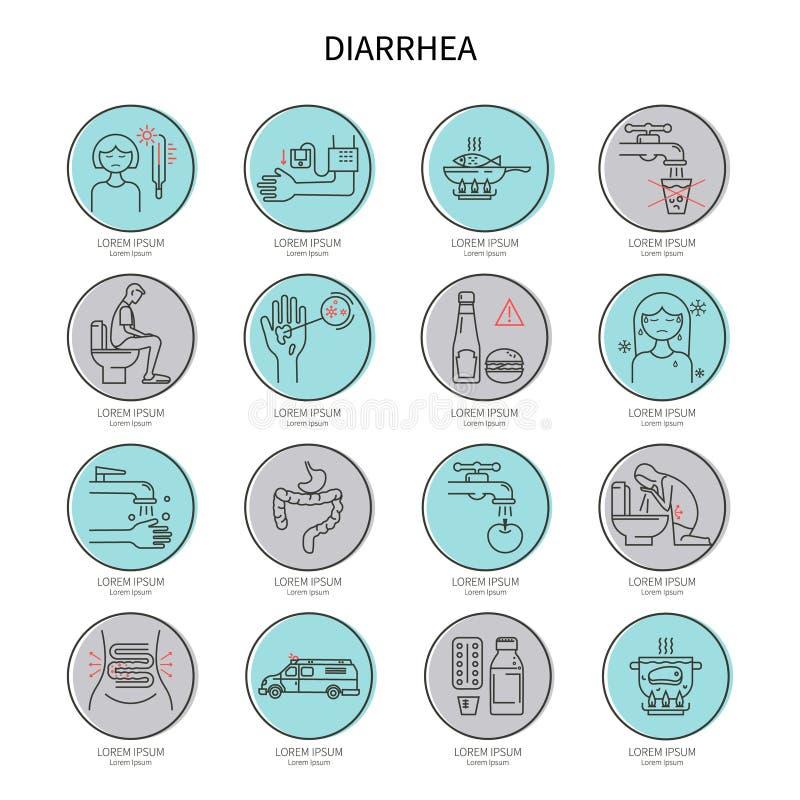 Ensemble d'icône de diarrhée illustration libre de droits