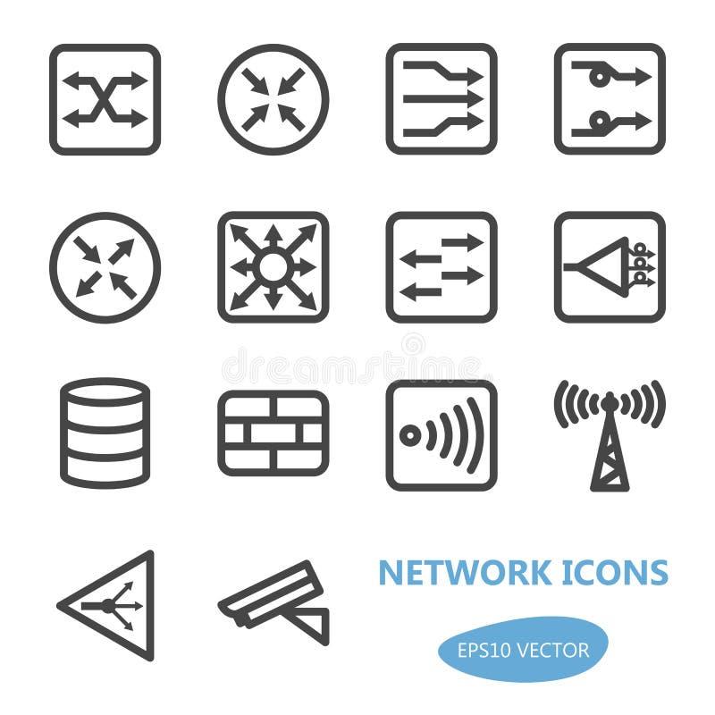 Ensemble d'icône de dispositifs de réseau illustration stock