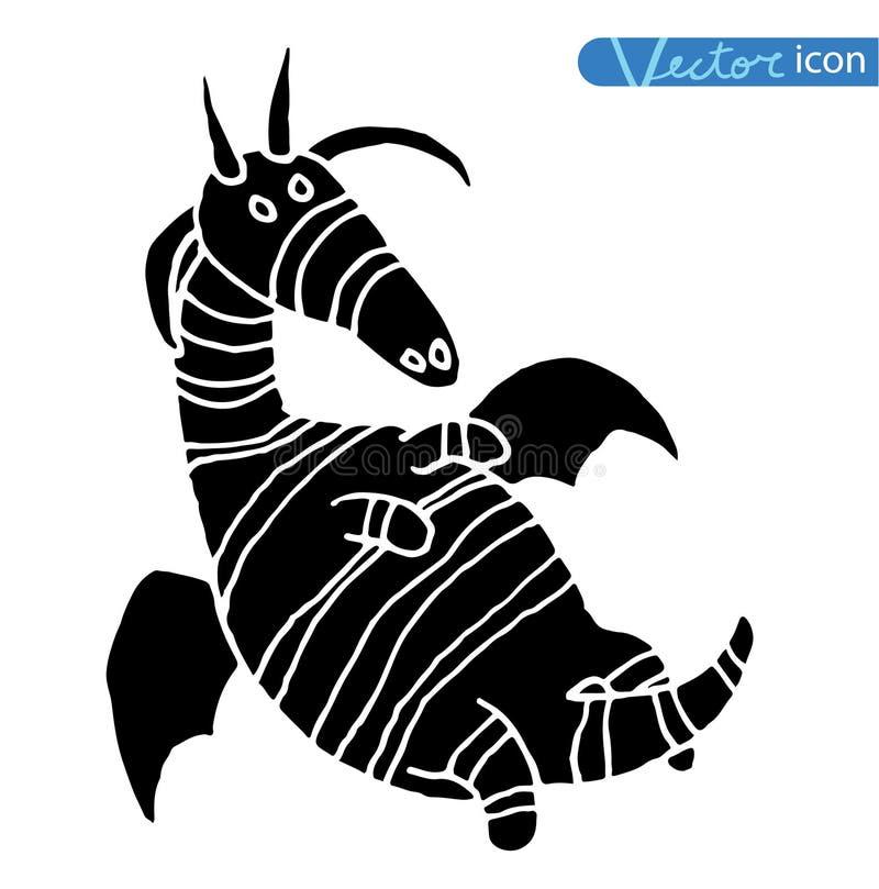 Ensemble d'icône de dragon du feu de bande dessinée illustration libre de droits