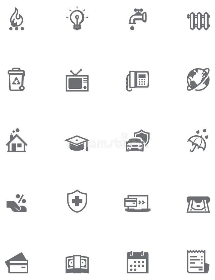 Ensemble d'icône de factures de paiement illustration de vecteur
