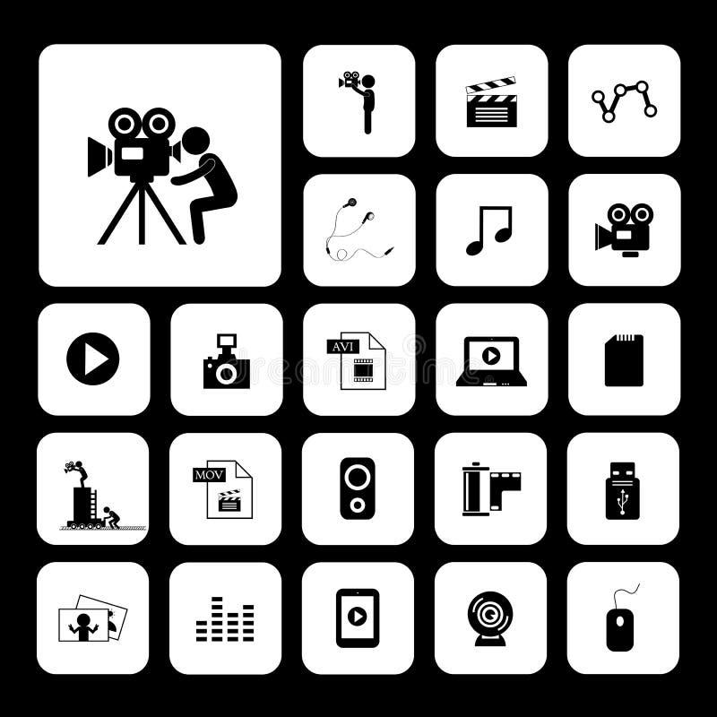 Ensemble d'icône de film et de media illustration libre de droits