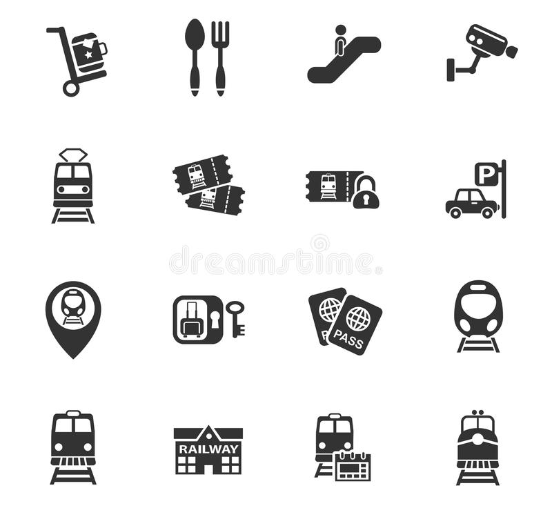 Ensemble d'icône de gare ferroviaire illustration stock