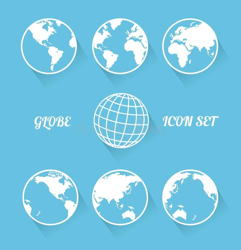 Ensemble d'icône de globe de Vecrot. Style plat moderne illustration libre de droits