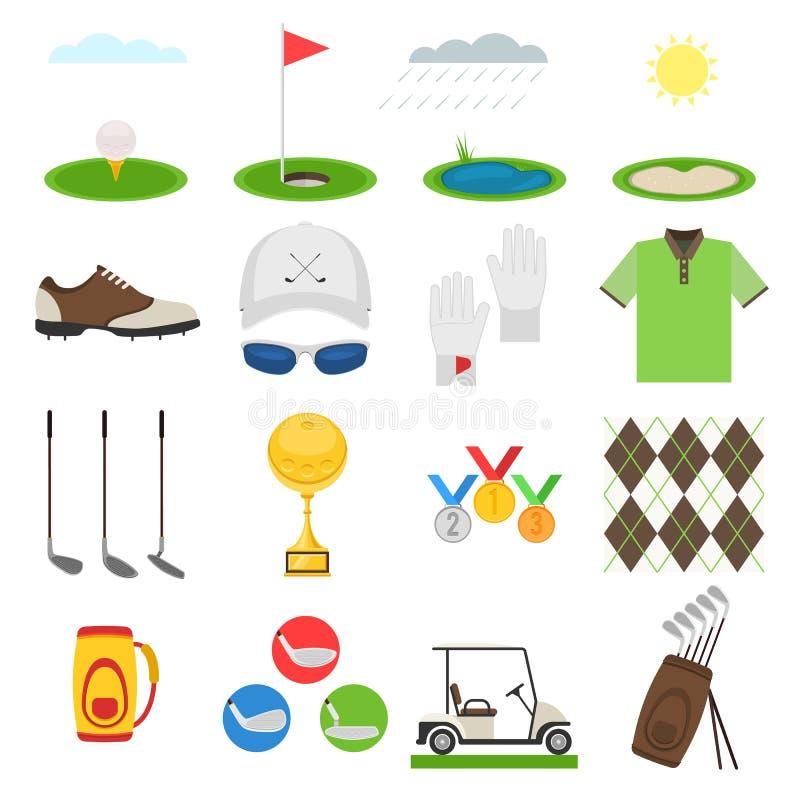 Ensemble d'icône de golf illustration stock
