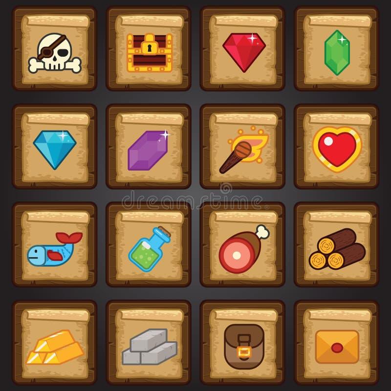 Ensemble d'icône de jeu, icône plate de jeu, ressources, butin illustration stock