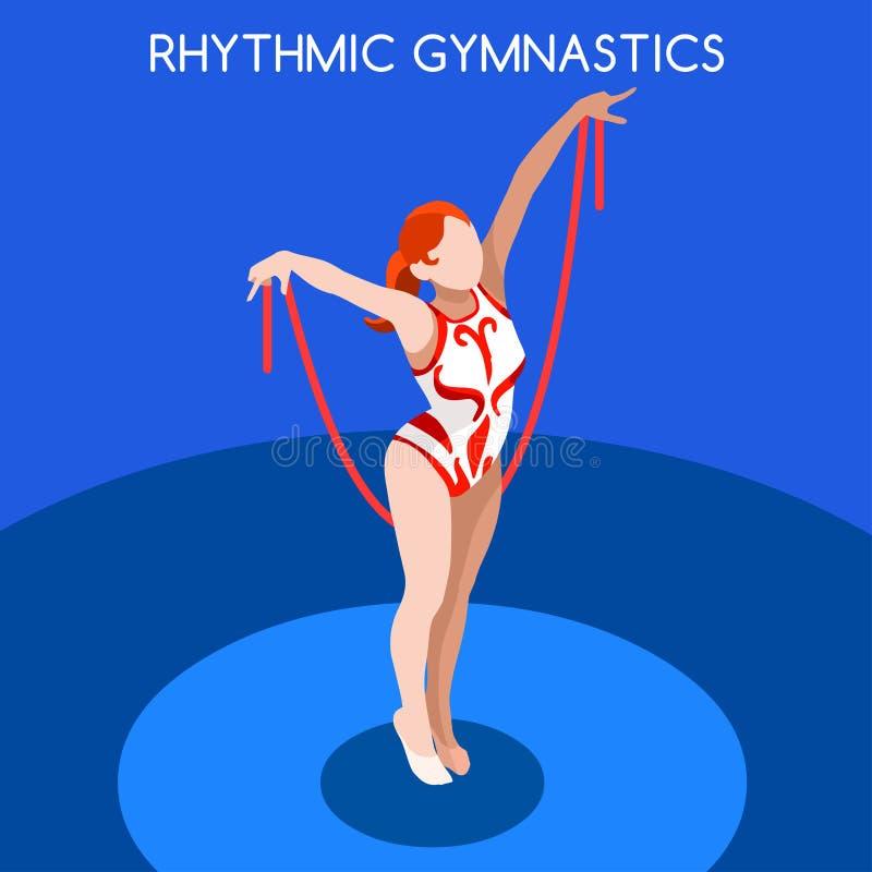 Ensemble d'icône de jeux d'été de corde de gymnastique rythmique concurrence internationale isométrique de championnat de 3D Gymn illustration stock