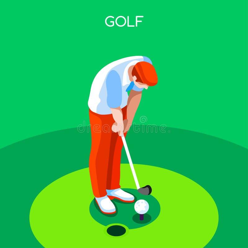 Ensemble d'icône de jeux d'été de golf athlète isométrique du golfeur 3D Concurrence internationale de golf de championnat sporti illustration libre de droits