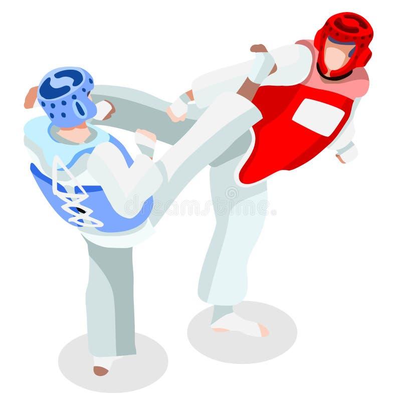 Ensemble d'icône de jeux d'été du Taekwondo athlète 3D isométrique Jeux Olympiques folâtrant le championnat Art Competition marti illustration de vecteur