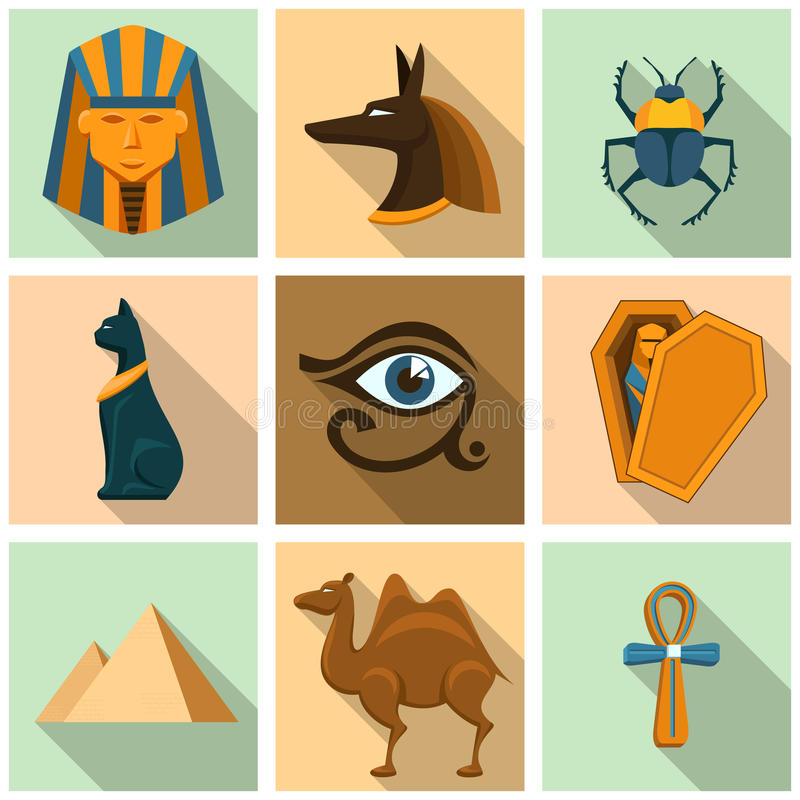 Ensemble d'icône de l'Egypte illustration de vecteur