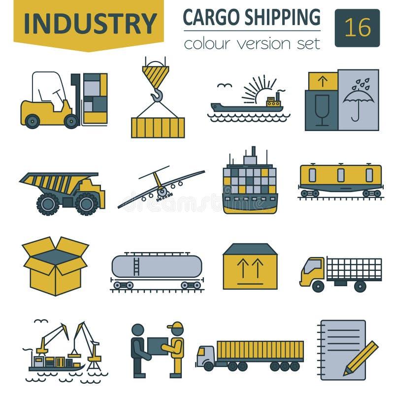 Ensemble d'icône de la livraison de transports maritimes Ligne mince conception illustration stock