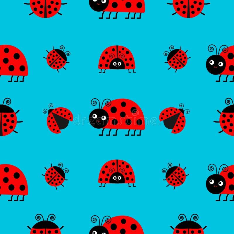 Ensemble d'icône de Ladybird de coccinelle Collection de bébé Insecte drôle Configuration sans joint illustration de vecteur