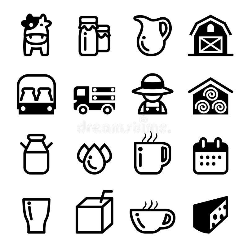 Ensemble d'icône de lait illustration stock