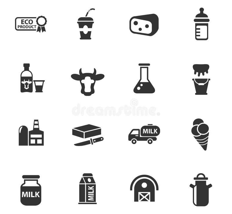Ensemble d'icône de lait illustration libre de droits