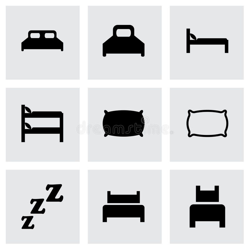 Ensemble d'icône de lit de vecteur illustration stock