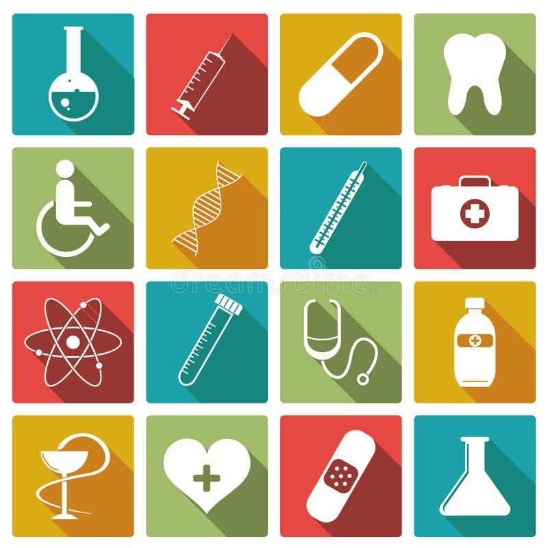 Ensemble d'icône de médecine Illustration de vecteur illustration de vecteur