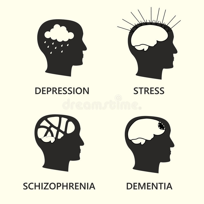 Ensemble d'icône de maladie mentale illustration stock