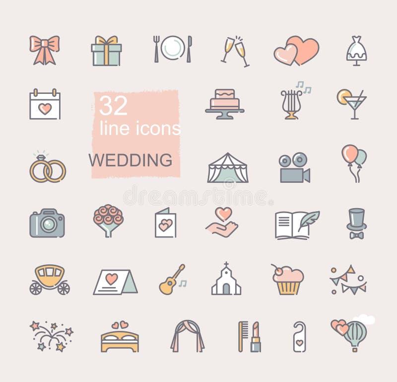 Ensemble d'ic?ne de mariage La ligne a color? des symboles Graphismes de vecteur illustration libre de droits