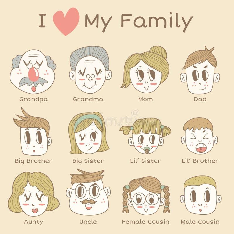 Ensemble d'icône de membres de la famille illustration stock