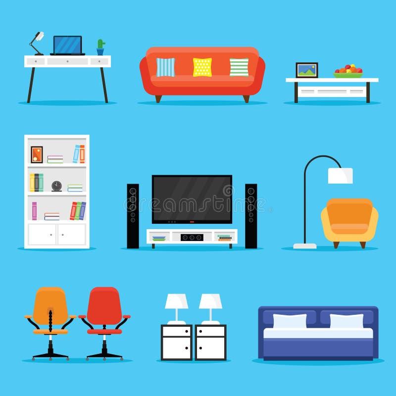 Ensemble d'icône de meubles et d'appareils dans une conception plate photo stock