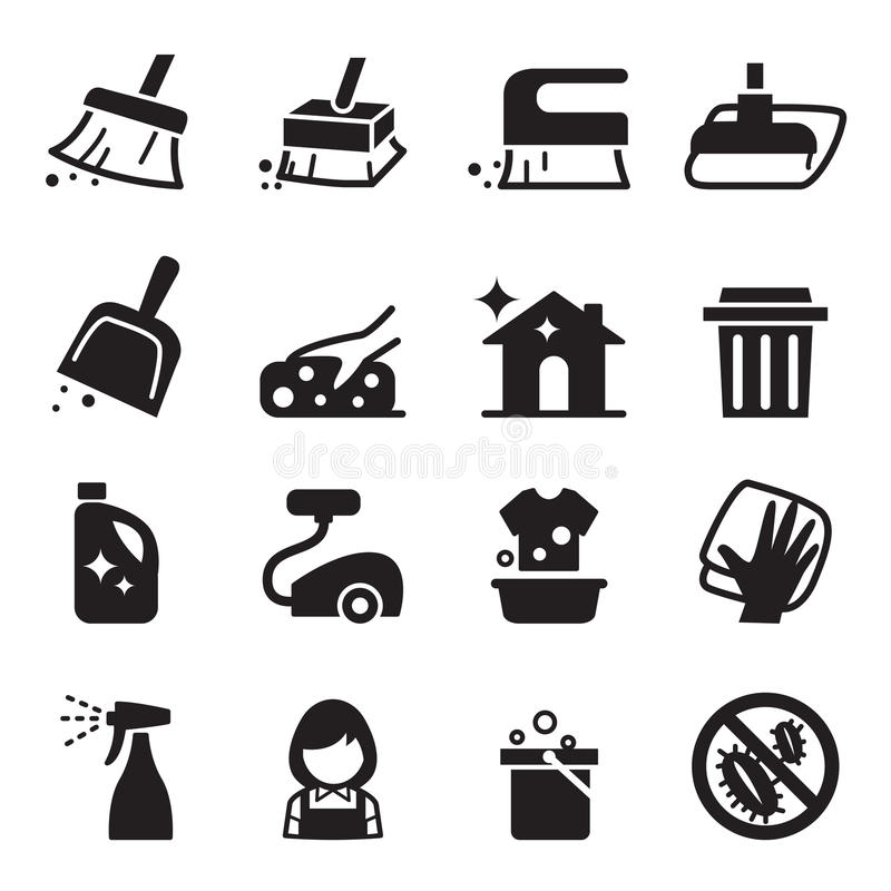 Ensemble d'icône de nettoyage illustration libre de droits