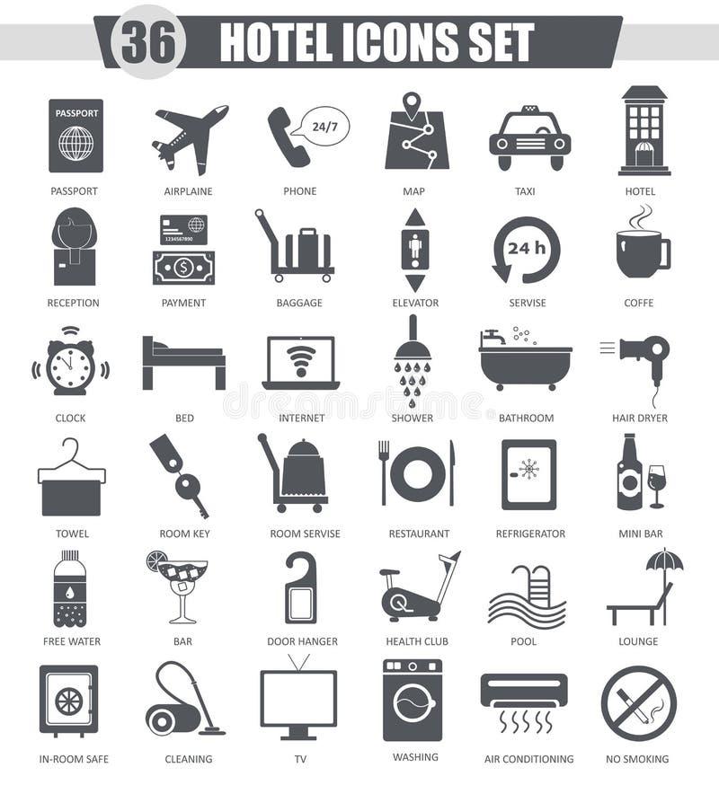 Ensemble d'icône de noir d'hôtel de vecteur Conception classique gris-foncé d'icône pour le Web illustration de vecteur