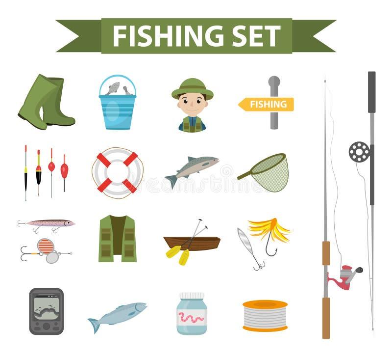 Ensemble d'icône de pêche, plat, style de bande dessinée Objets de collection de pêche, éléments de conception, d'isolement sur l illustration de vecteur